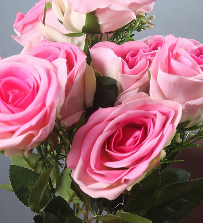Buy Fourwalls Large Blooming Artificial Velvet Rose Bouquet (45 Cm, Light Pink, 7 Branches) Online
