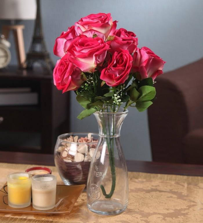 Buy Fourwalls Large Blooming Artificial Velvet Rose Bouquet (45 Cm, Dark Pink, 7 Branches) Online