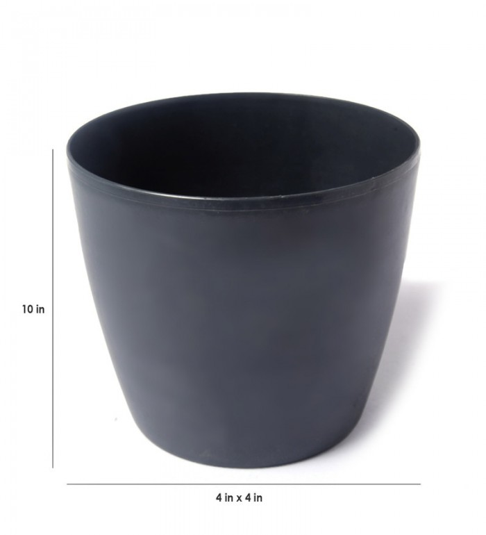 Buy Fourwalls PVC Planter (15 Cm, Grey, Set Of 3) Online