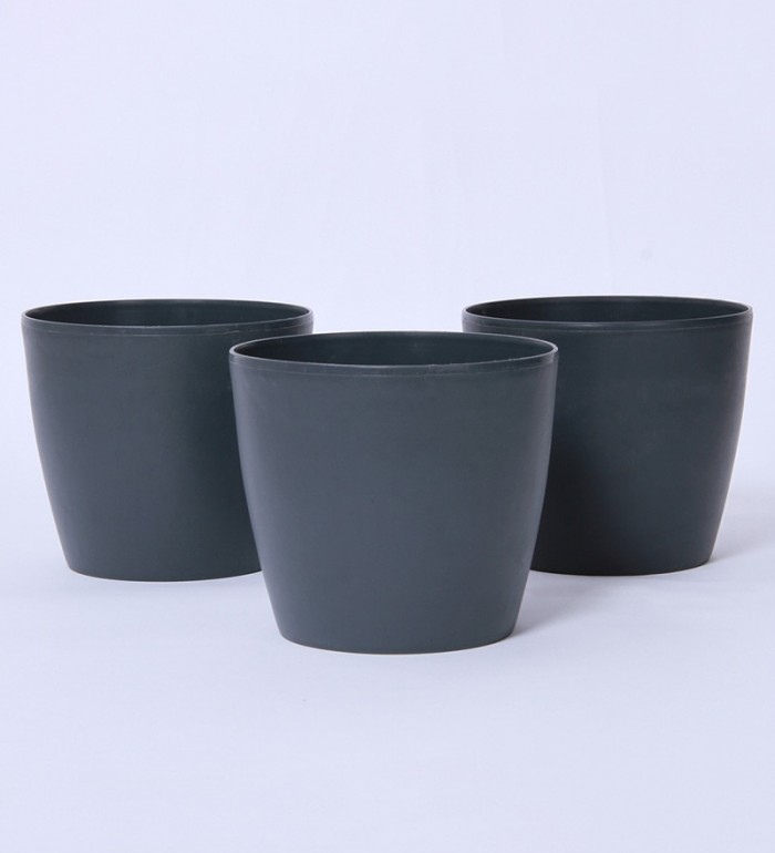 Buy Fourwalls PVC Planter (15 Cm, Brown, Set Of 3) Online