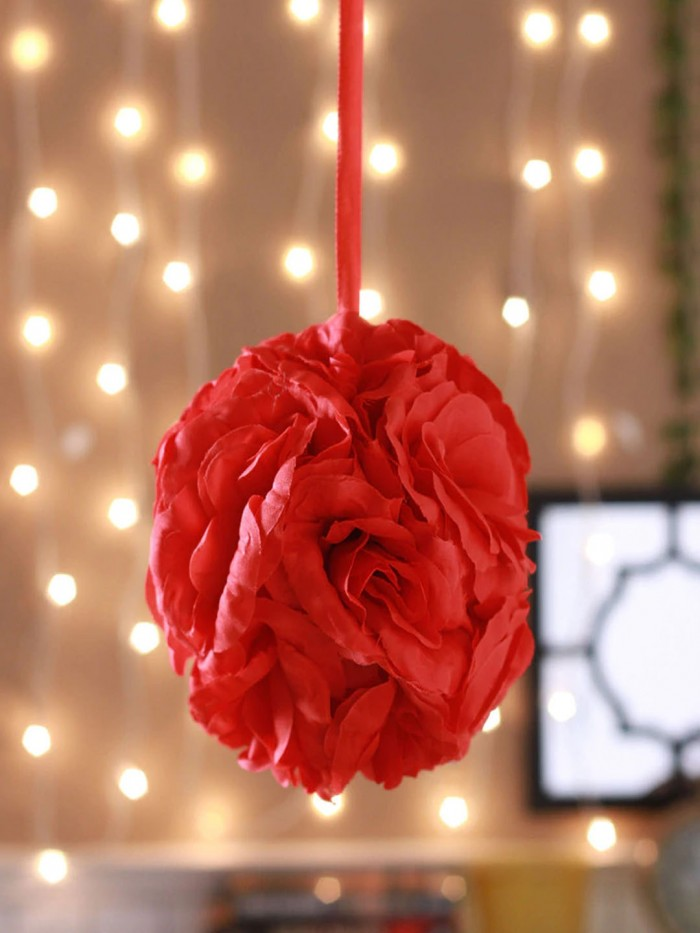 Buy Artificial Fabric Kissing Pomander Flowers Ball(Red) Online