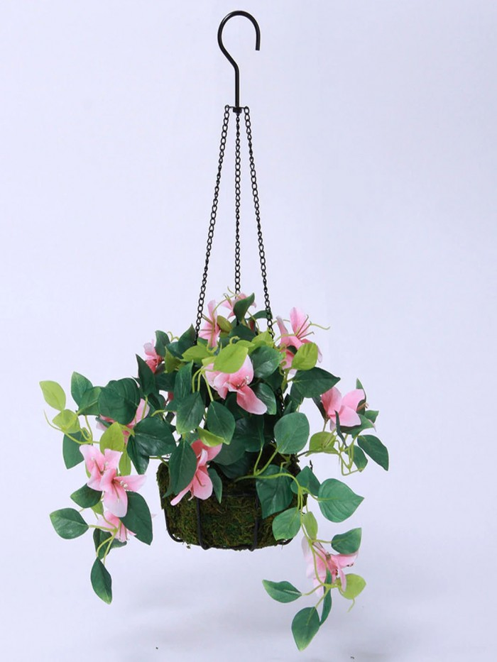Buy Fourwalls Decorative Polyester Artificial Bougainvillea Plant With Hanging Basket (40 Cm, Pink,