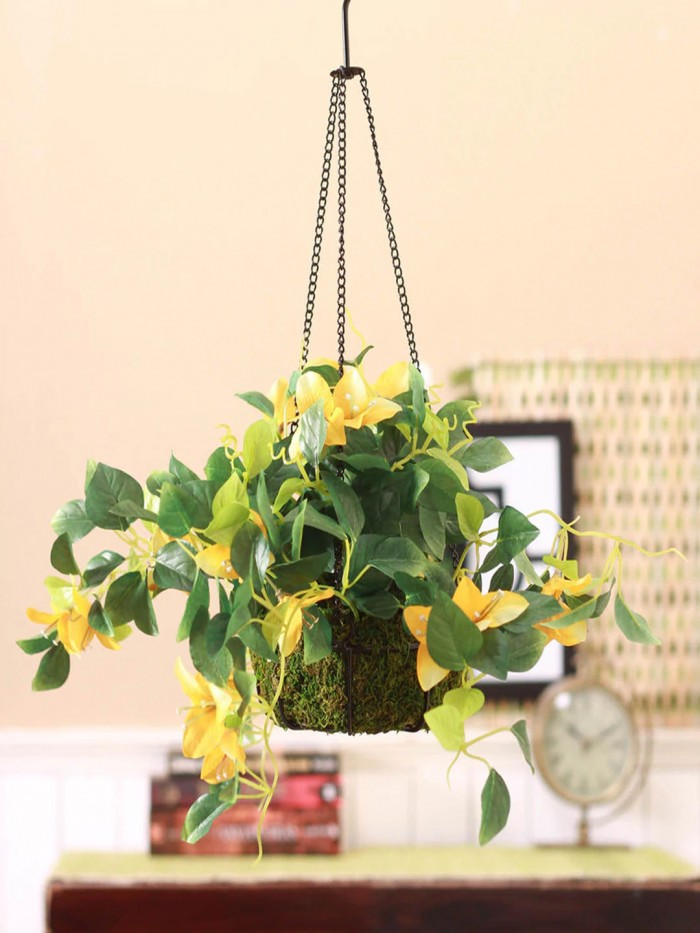 Buy Fourwalls Decorative Polyester Artificial Bougainvillea Plant With Hanging Basket (40 Cm, Dark P