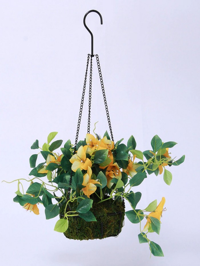 Buy Fourwalls Decorative Polyester Artificial Bougainvillea Plant With Hanging Basket (40 Cm, Yellow