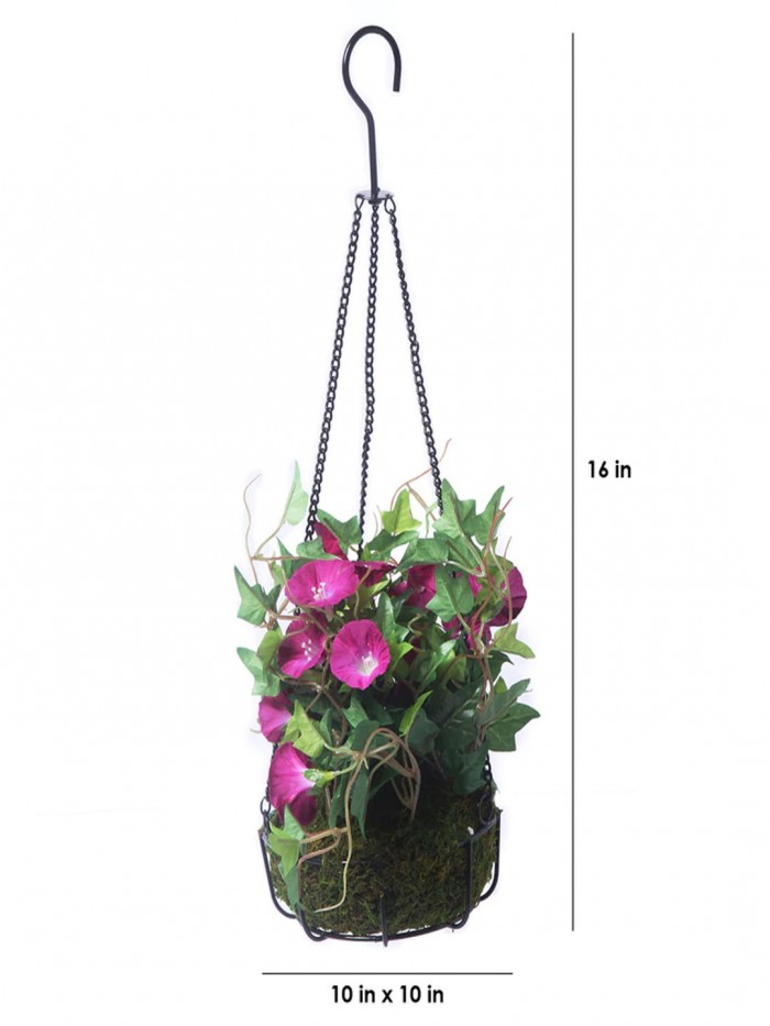 Buy Fourwalls Decorative Polyester Artificial Morning Glory Plant With Hanging Basket (40 Cm, Blue,