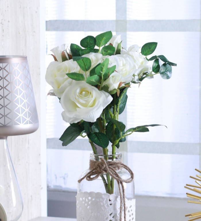 Buy Fourwalls Artificial Polyester13 Hd Rose Flower Bunch (set Of 1 White) Online