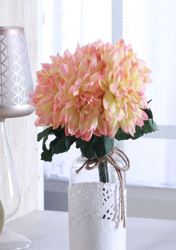 Buy Peach Polyester Artificial Synthetic Chrysanthemum Flower Bunch By Fourwalls - Set Of 2 Online