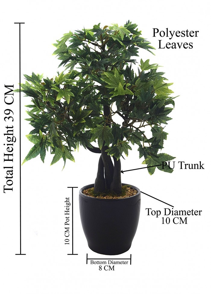 Buy Fourwalls 39 Cm Tall Classic Artificial Japanese Maple Plant In A Glossy Ceramic Pot Online