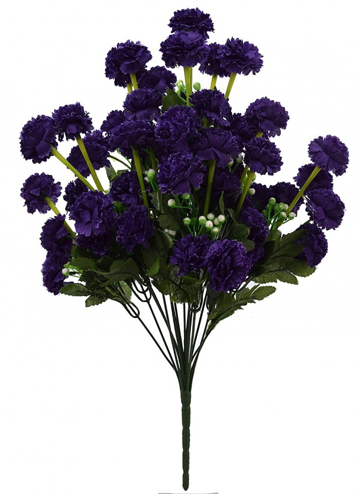 Buy FourwallsArtificial Marigold Flower Bunch (54 Flowers, Blue) Online