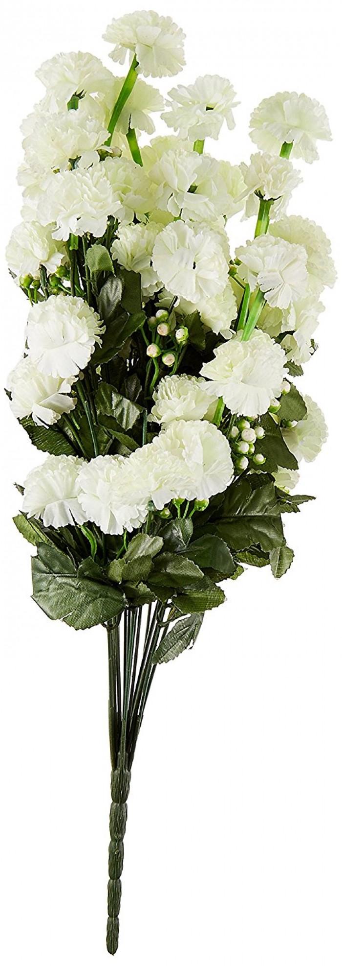 Buy FourwallsMarigold Plastic Artificial Flower (9.4 Cm, White) Online