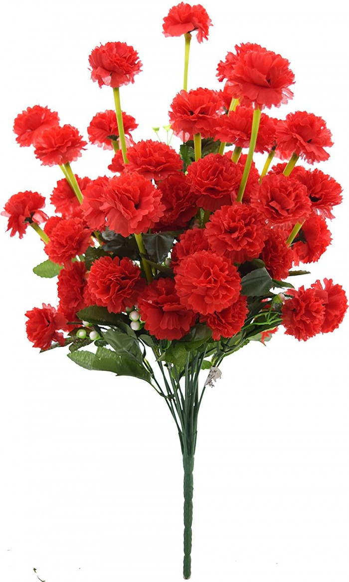 Buy Fourwalls Artificial Marigold Flower Bunch (54 Flowers, Red) Online