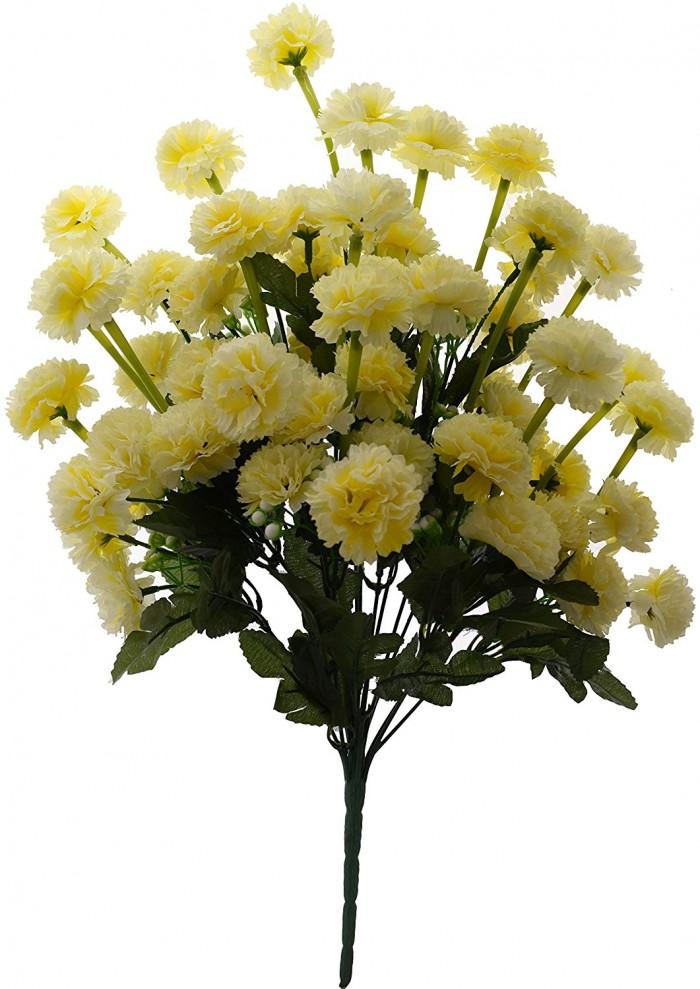 Buy FourwallsArtificial Marigold Flower Bunch (54 Flowers, Yellow) Online