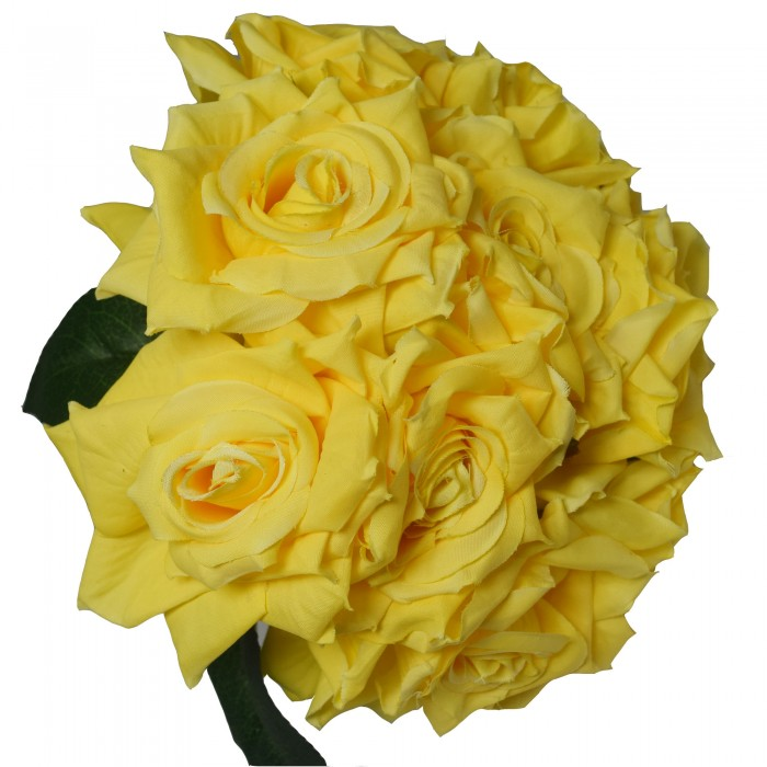 Buy Artificial Polyester And Plastic Rose Bouquet (13 Cm X 10 Cm X 26 Cm, Yellow) Online