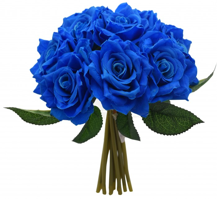 Buy Artificial Polyester And Plastic Rose Bouquet (13 Cm X 10 Cm X 26 Cm, Blue) Online