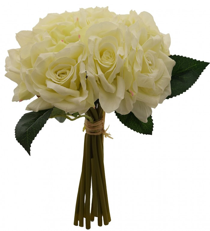 Buy FourwallsArtificial Polyester And Plastic Rose Bouquet (13 Cm X 10 Cm X 26 Cm, White) Online