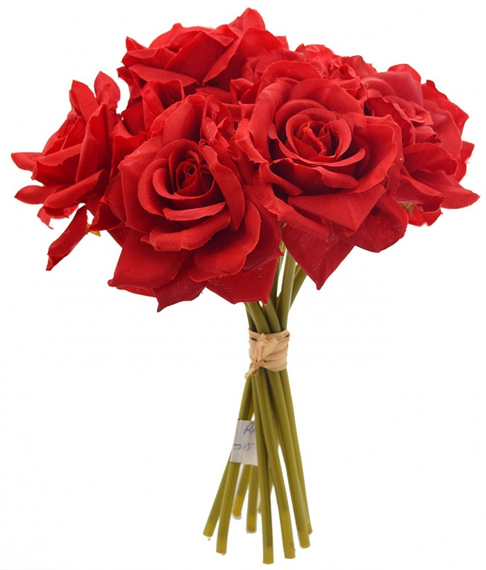 Buy FourwallsArtificial Polyester And Plastic Rose Bouquet (13 Cm X 10 Cm X 26 Cm, Red) Online