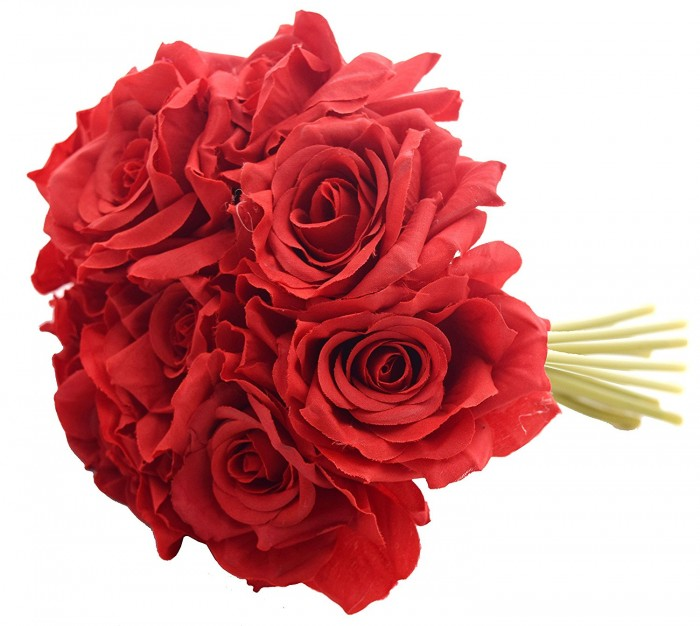 Buy Fourwalls Artificial Polyester And Plastic Rose Bouquet (13 Cm X 10 Cm X 26 Cm, Red) Online