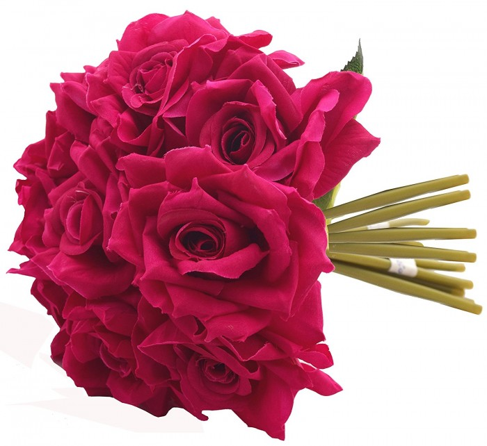 Buy Artificial Polyester And Plastic Rose Bouquet (13 Cm X 10 Cm X 26 Cm, Dark Pink) Online