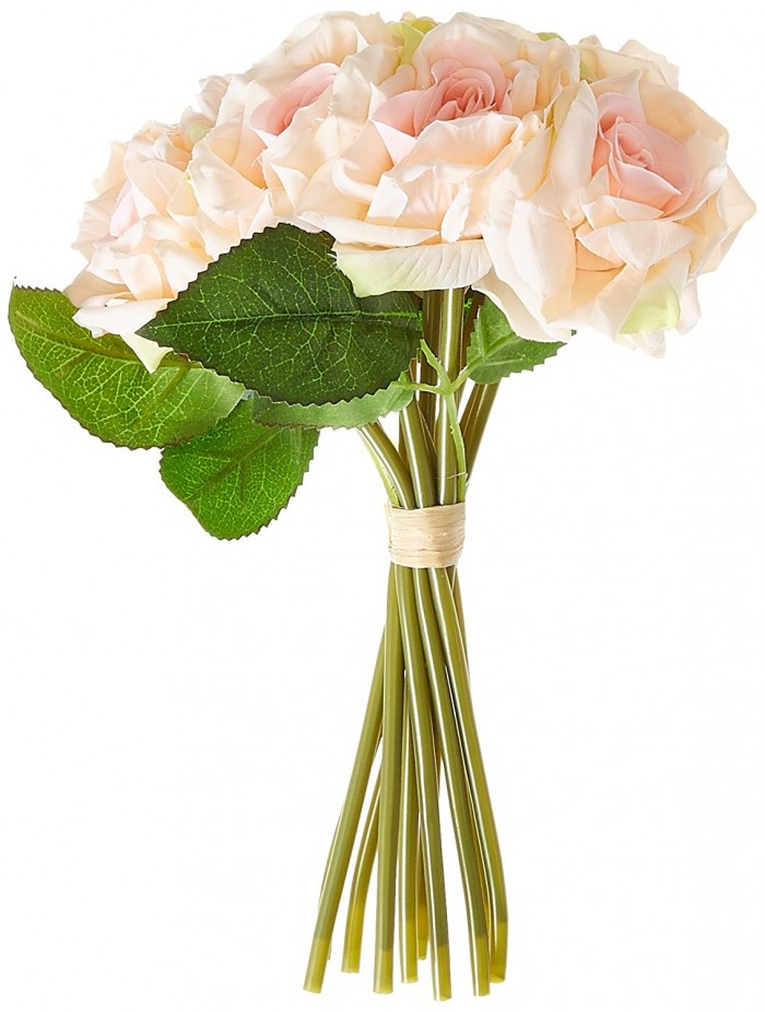 Buy FourwallsArtificial Polyester And Plastic Rose Bouquet (13 Cm X 10 Cm X 26 Cm,Light/Pink ) Onli