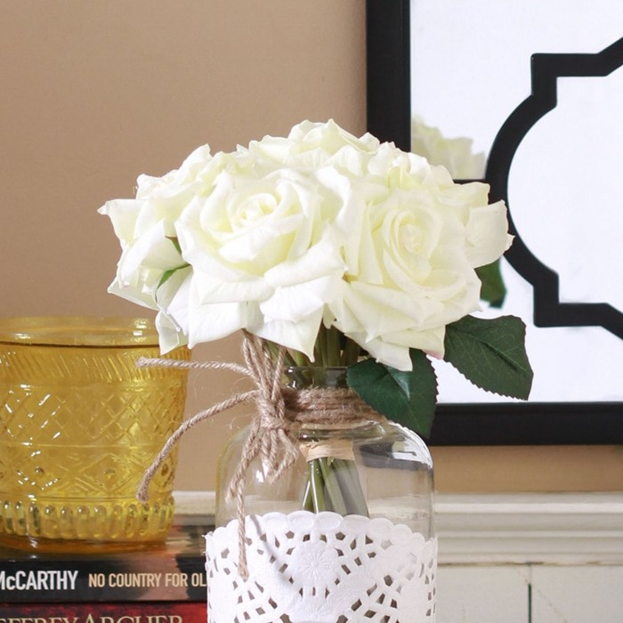 Buy  Artificial Polyester And Plastic Rose Bouquet (13 Cm X 10 Cm X 26 Cm, White) Online