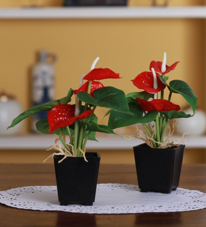 Buy FourwallsArtificial Anthurium Plant In Melamine Vase (20 Cm,Red Set 2) Online