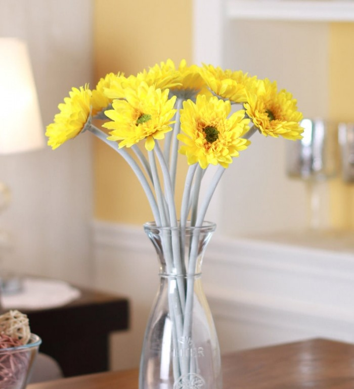 Buy Fourwalls35cm Tall Artificial Gerbera Flower Stem (Set Of 10,Yellow) Online