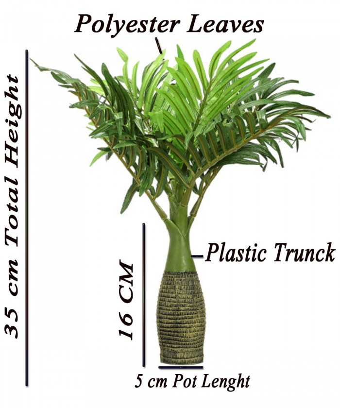 Buy  Artificial  Synthetic Artificial Bonsai Palm Plant (8 Branches, Green, 35 Cm ) Online