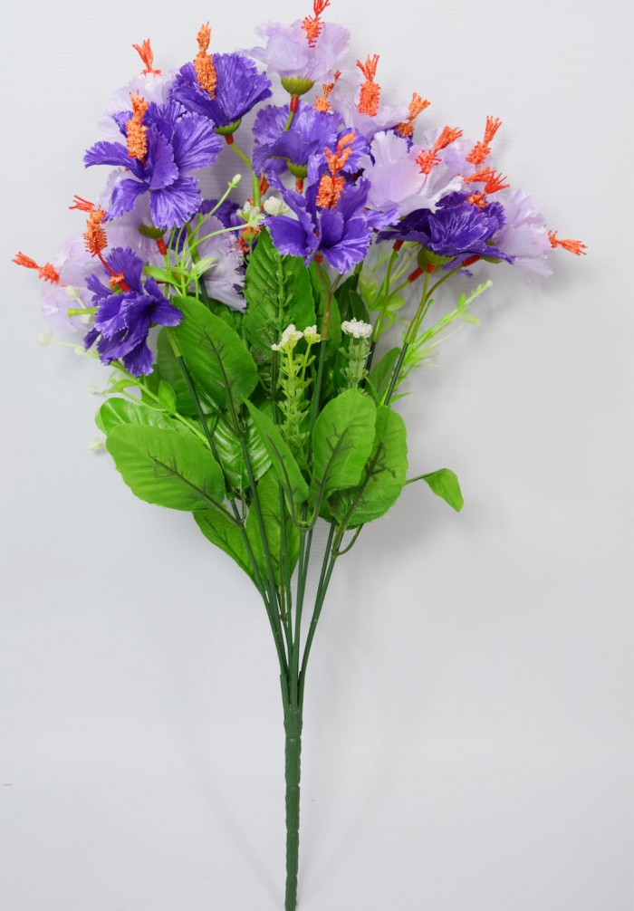 Buy Artificial Hibiscus Flower Bunch (48 Cm Tall 20 Flowers, Tall, Blue) Online