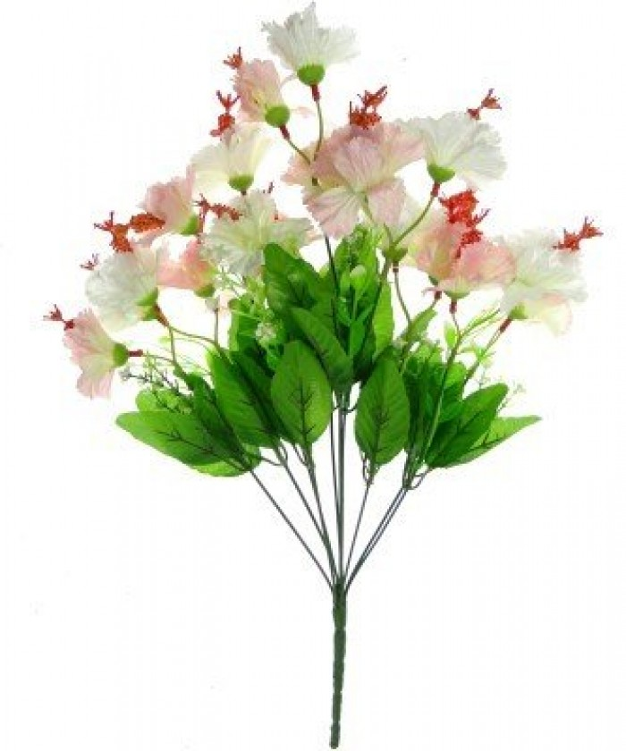 Buy Artificial Hibiscus Flower Bunch (20 Flowers, Tall, White) Online