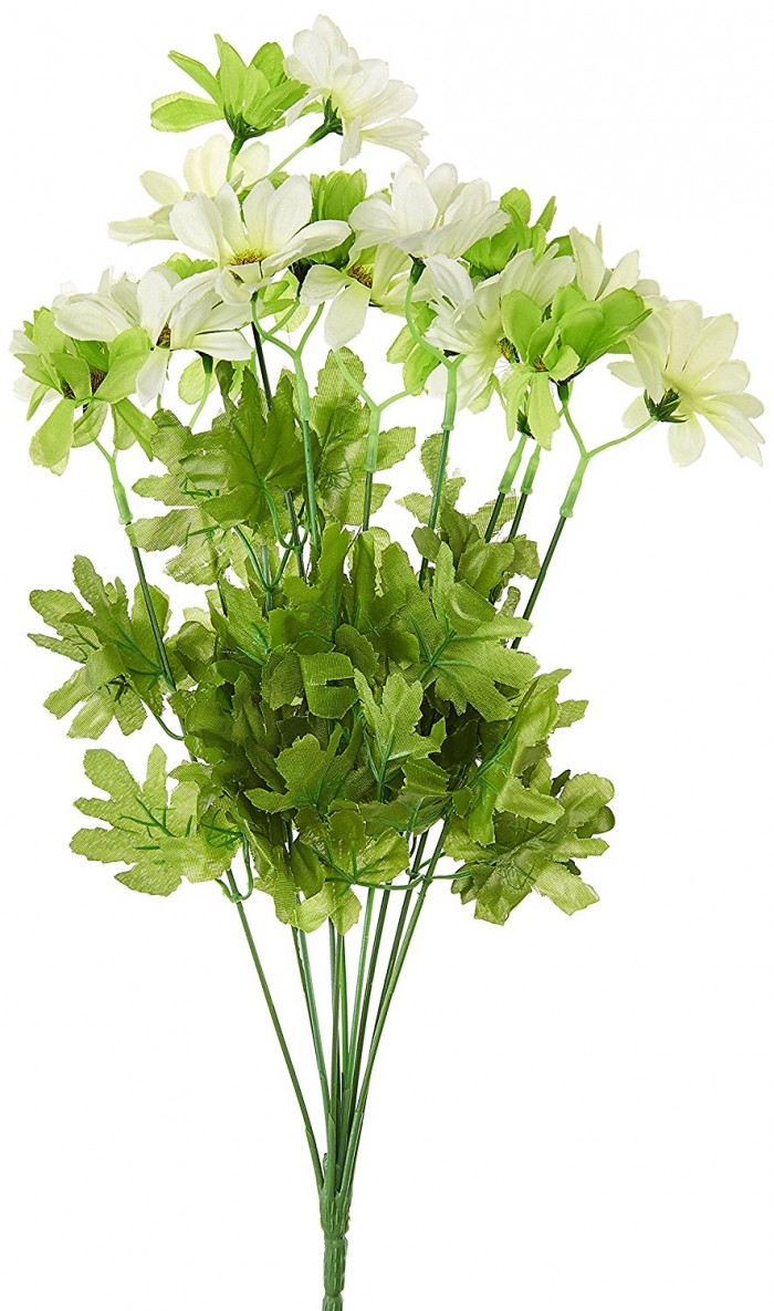 Buy Synthetic Fabric Artificial Daisy Bunch (10 Branches, 20 Flower Heads, Green And White) Online