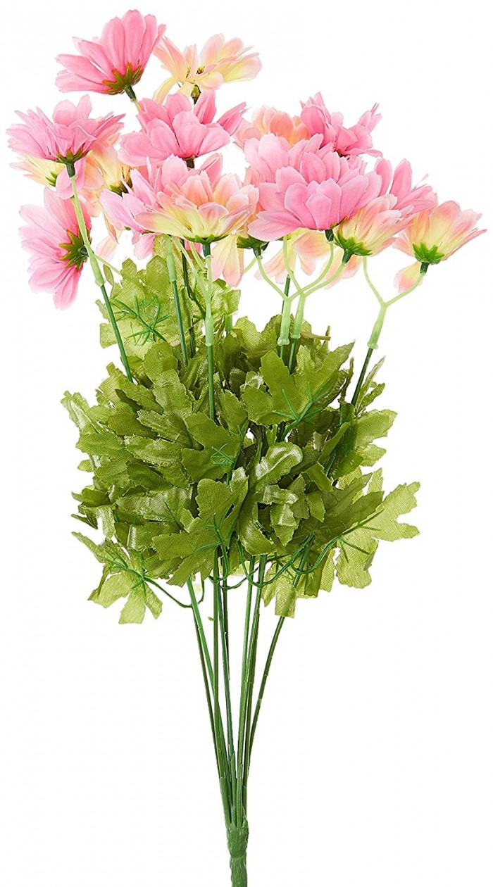 Buy Synthetic Fabric Artificial Daisy Bunch (10 Branches, 20 Flower Heads, Light Pink And Dark Pink)