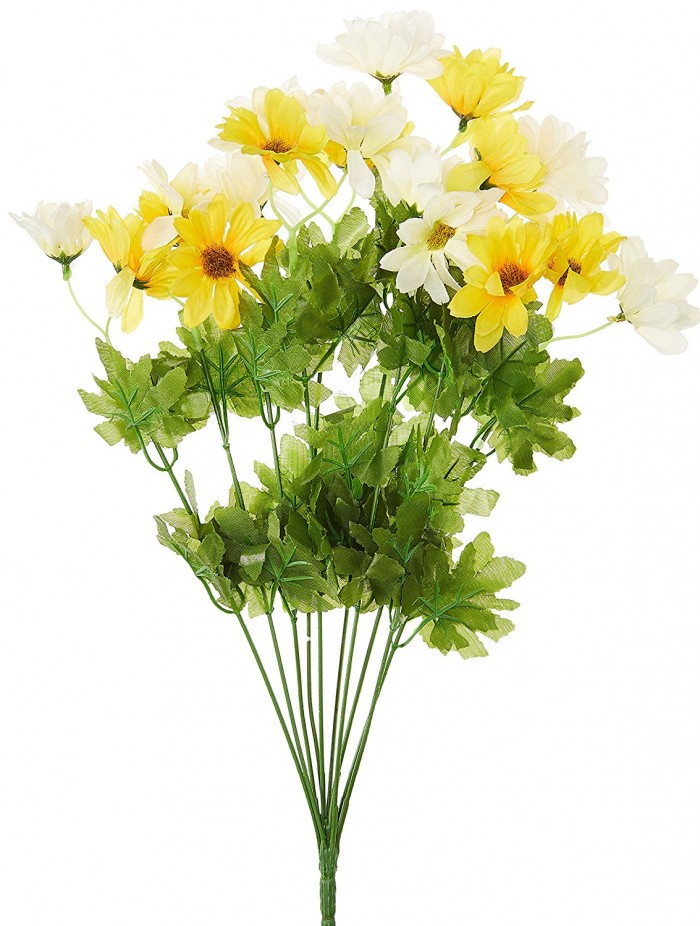 Buy Synthetic Fabric Artificial Daisy Bunch (10 Branches, 20 Flower Heads, White AND Yellow) Online