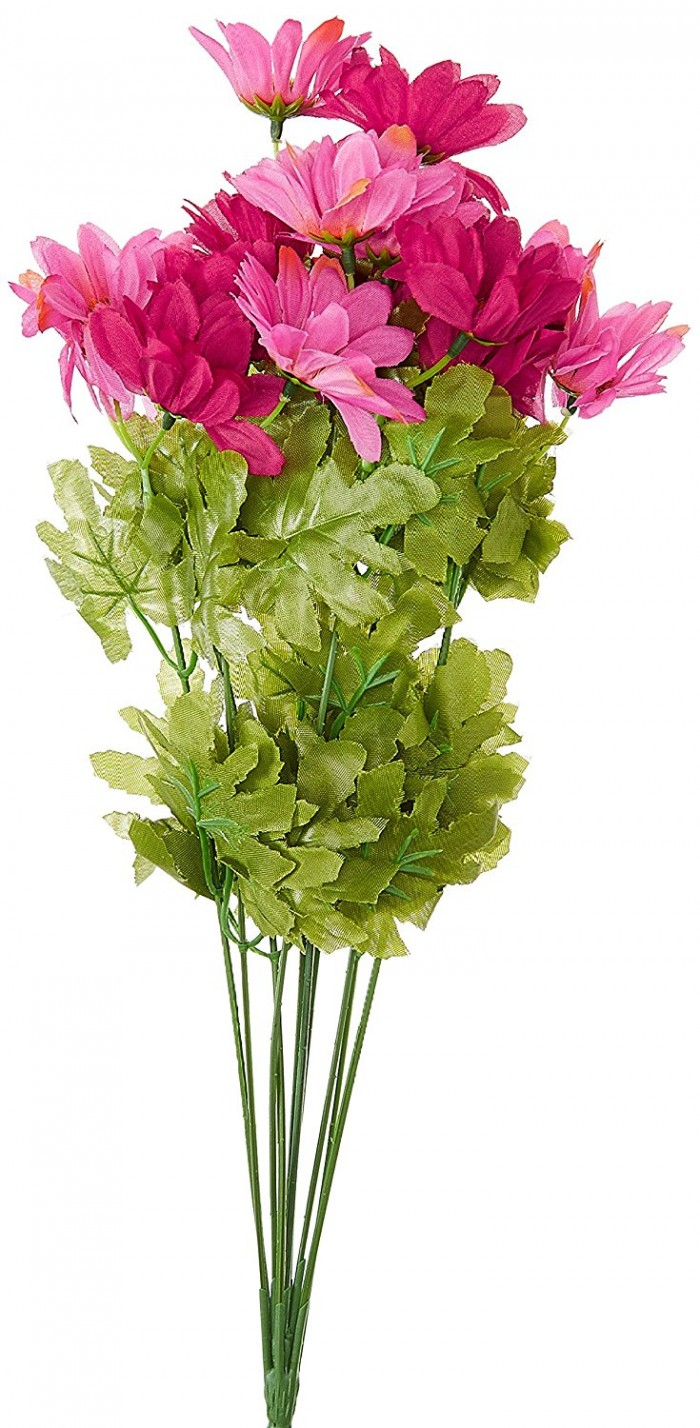 Buy  Synthetic Fabric Artificial Daisy Bunch (10 Branches, 20 Flower Heads, Pink And Red) Online