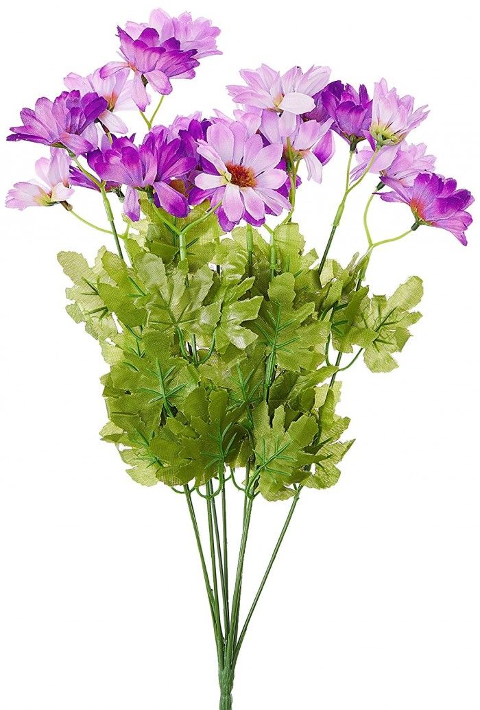 Buy Synthetic Fabric Artificial Daisy Bunch (10 Branches, 20 Flower Heads, Purple) Online