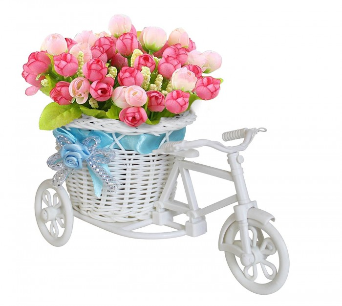 Buy Tricycle Decorative Plastic Flower Vase (23 Cm X 12 Cm X 10 Cm, White) Online
