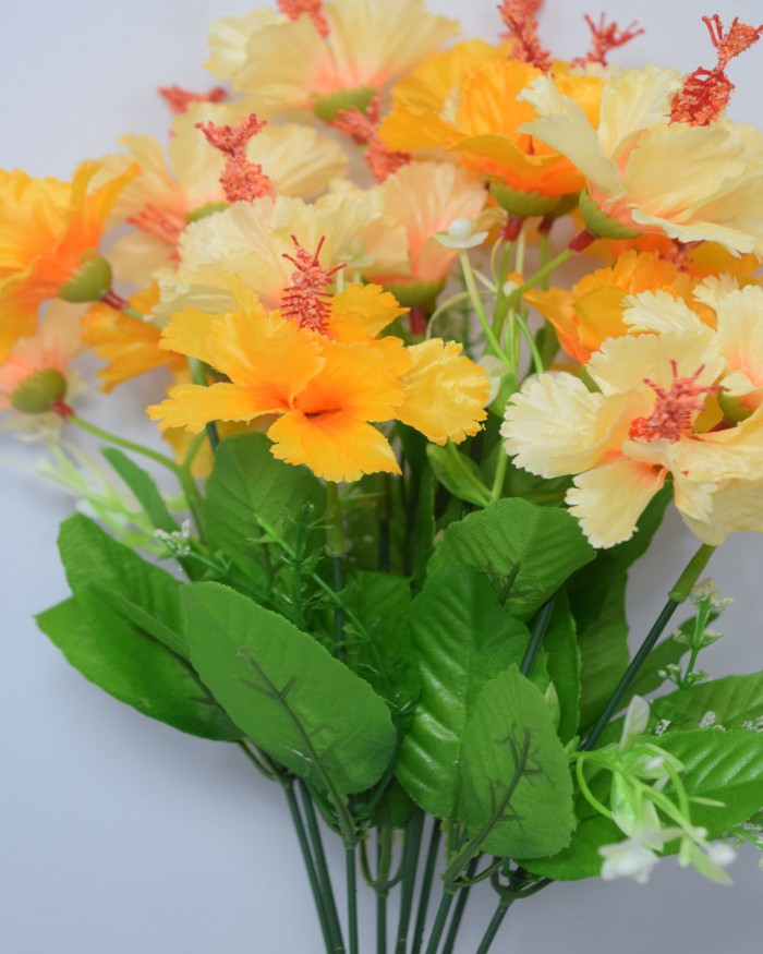 Buy 46 Cm Tall Artificial Hibiscus Bunch With 20 Flower Heads Online