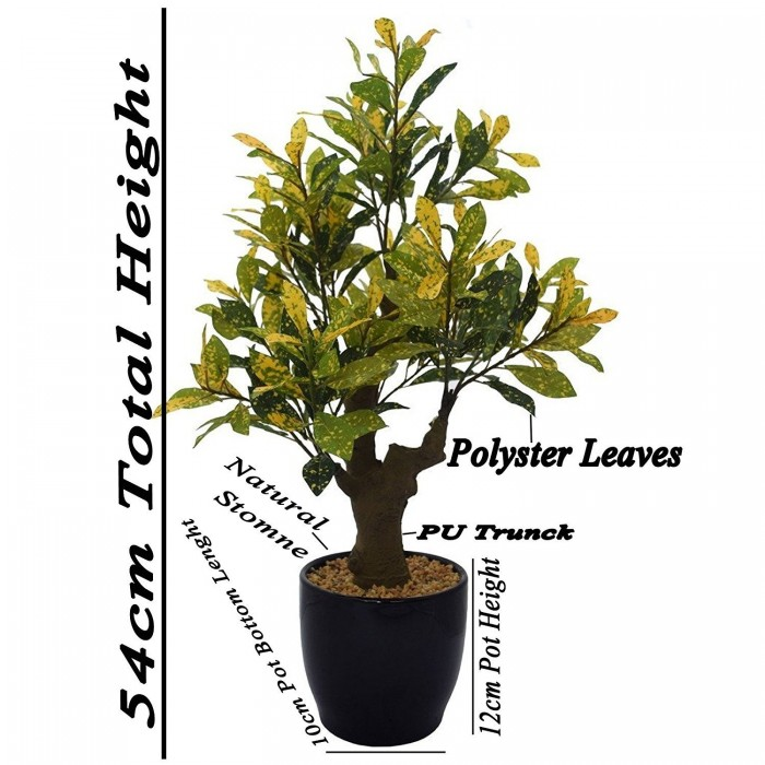 Buy Fourwalls Artificial Croton Plant In A Ceramic Vase For Home And Office Décor (54 Cm, Green/Yel