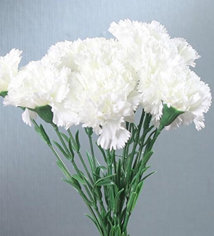 Buy Fourwalls Artificial Single Carnation Stems (Set Of 15, White) Online