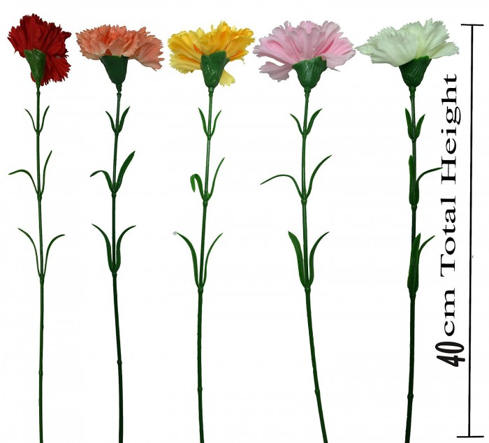 Buy Fourwalls Artificial Carnation Stems (Set Of 15, Peach) Online