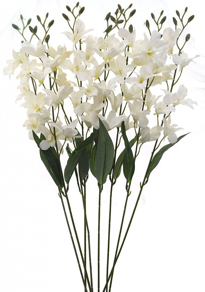 Buy Artificial Fuchsia Orchid Stems(White) Online