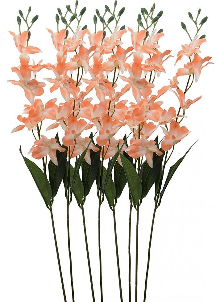 Buy Artificial Fuchsia Orchid Stems(Peach) Online