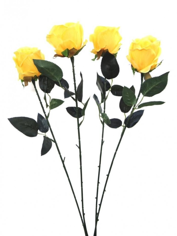 Buy Fourwalls Artificial Synthetic Single Open Rose (45 Cm, Set Of 4, Yellow) Online