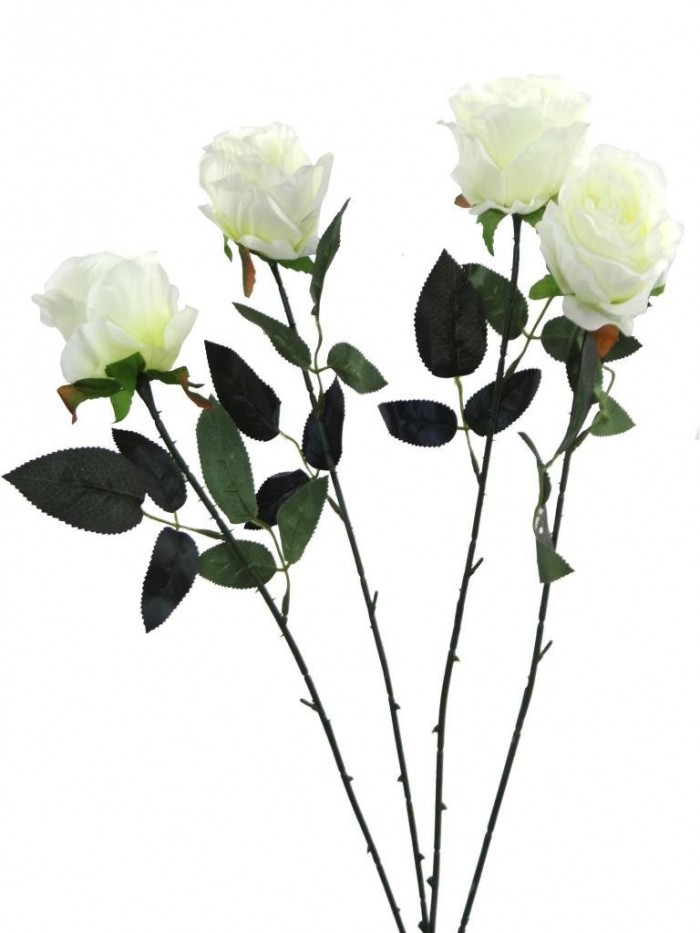 Buy Fourwalls Artificial Synthetic Single Open Rose (45 Cm, Set Of 4, White) Online