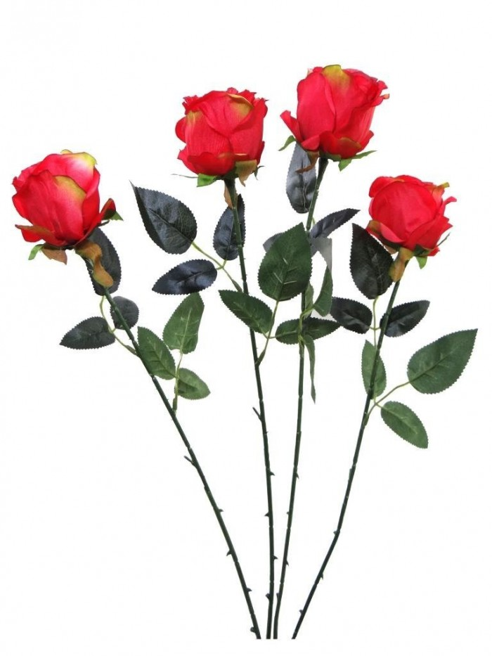 Buy Fourwalls Artificial Synthetic Single Open Rose (45 Cm, Set Of 4, Red) Online