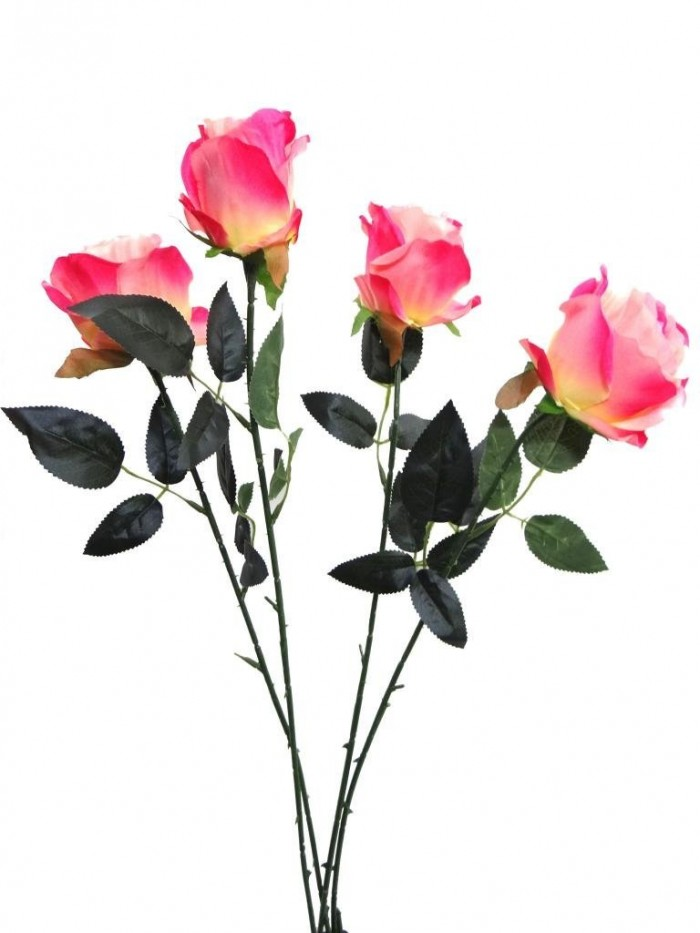 Buy Fourwalls Artificial Synthetic Single Open Rose (45 Cm, Set Of 4, PINK) Online