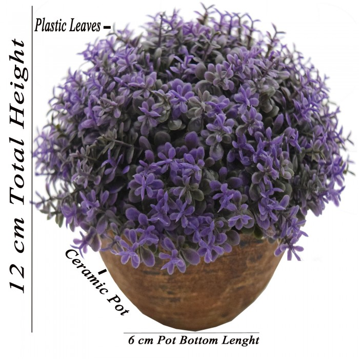 Buy Fourwalls Artificial Topiary Plant In A Ceramic Pot (12 Cm, Purple) Online