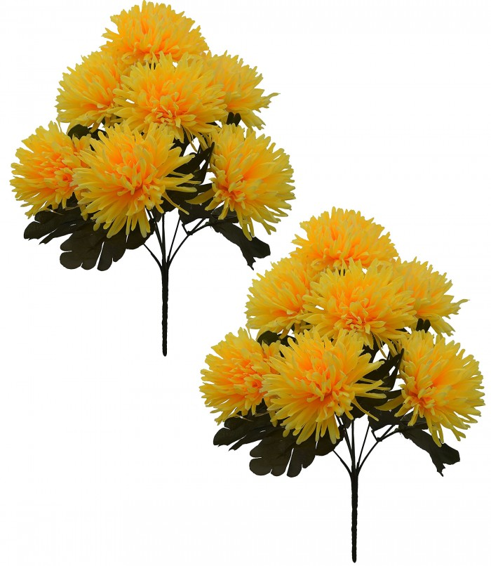 Buy Fourwalls Artificial Chrysanthemum Flower Bouquet (36 Cm, Yellow) Online