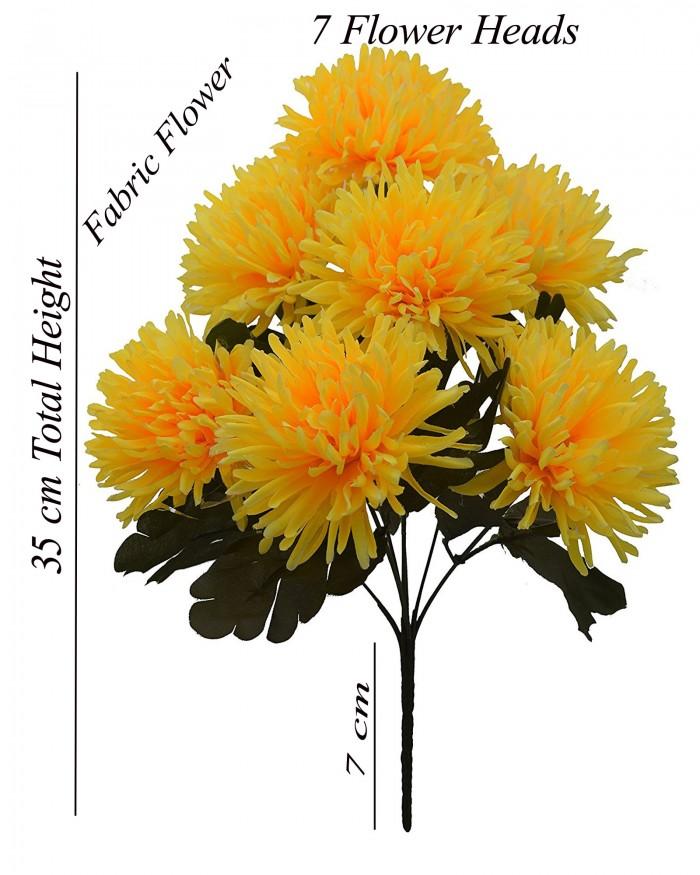 Buy Fourwalls Artificial Chrysanthemum Flower Bouquet (36 Cm, Yellow) Online