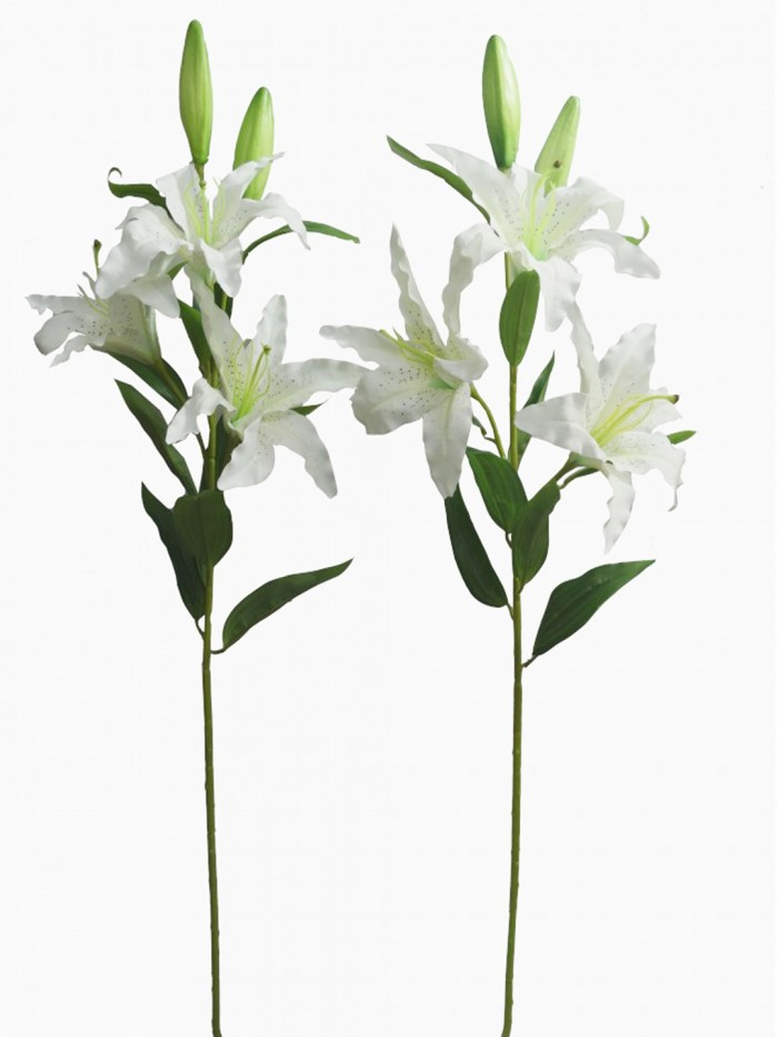 Buy Fourwalls Artificial Lily Flower Sticks (3 Flowers, 90 Cm Tall, White, Set Of 2) Online