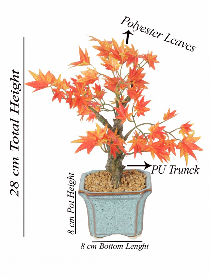 Buy Fourwalls Artificial Japanese Maple Bonsai Plant In A Ceramic Vase For Home And Office Décor (2